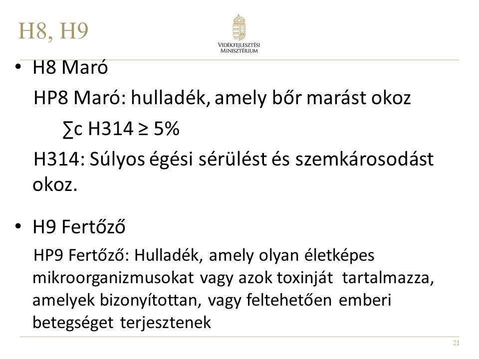 H8, H9 H8 Maró HP8 Maró: hulladék, amely bőr marást okoz ∑c H314 ≥ 5%