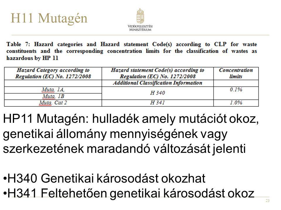H11 Mutagén HP11 Mutagén: hulladék amely mutációt okoz, genetikai állomány mennyiségének vagy szerkezetének maradandó változását jelenti.