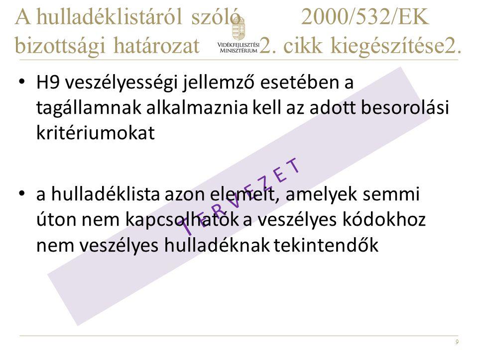 A hulladéklistáról szóló. 2000/532/EK bizottsági határozat. 2