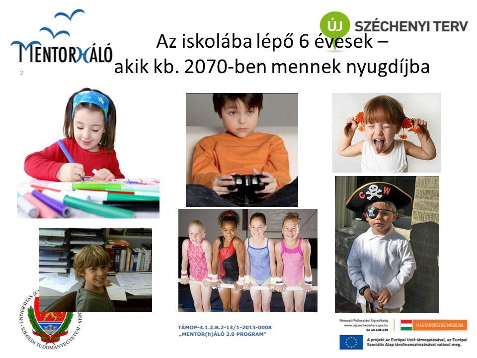 Az iskolába lépő 6 évesek – akik kb. 2070-ben mennek nyugdíjba
