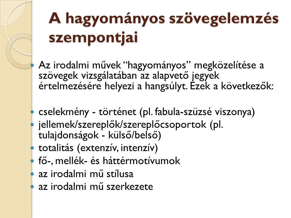 A hagyományos szövegelemzés szempontjai
