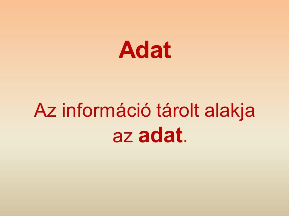 Az információ tárolt alakja az adat.