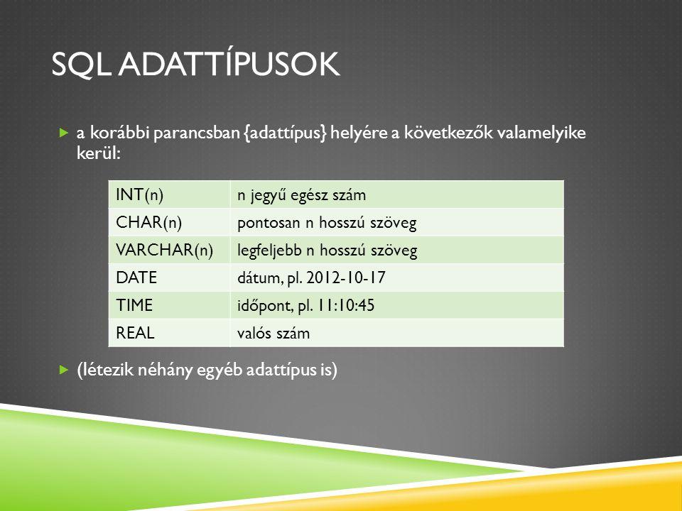 SQL adattípusok a korábbi parancsban {adattípus} helyére a következők valamelyike kerül: (létezik néhány egyéb adattípus is)