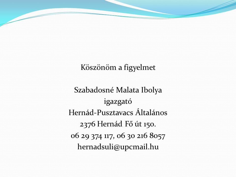 Köszönöm a figyelmet Szabadosné Malata Ibolya igazgató Hernád-Pusztavacs Általános 2376 Hernád Fő út 150.