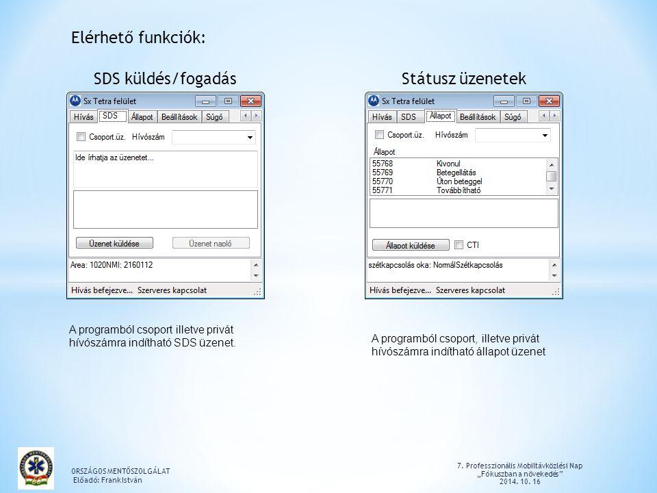 Elérhető funkciók: SDS küldés/fogadás Státusz üzenetek