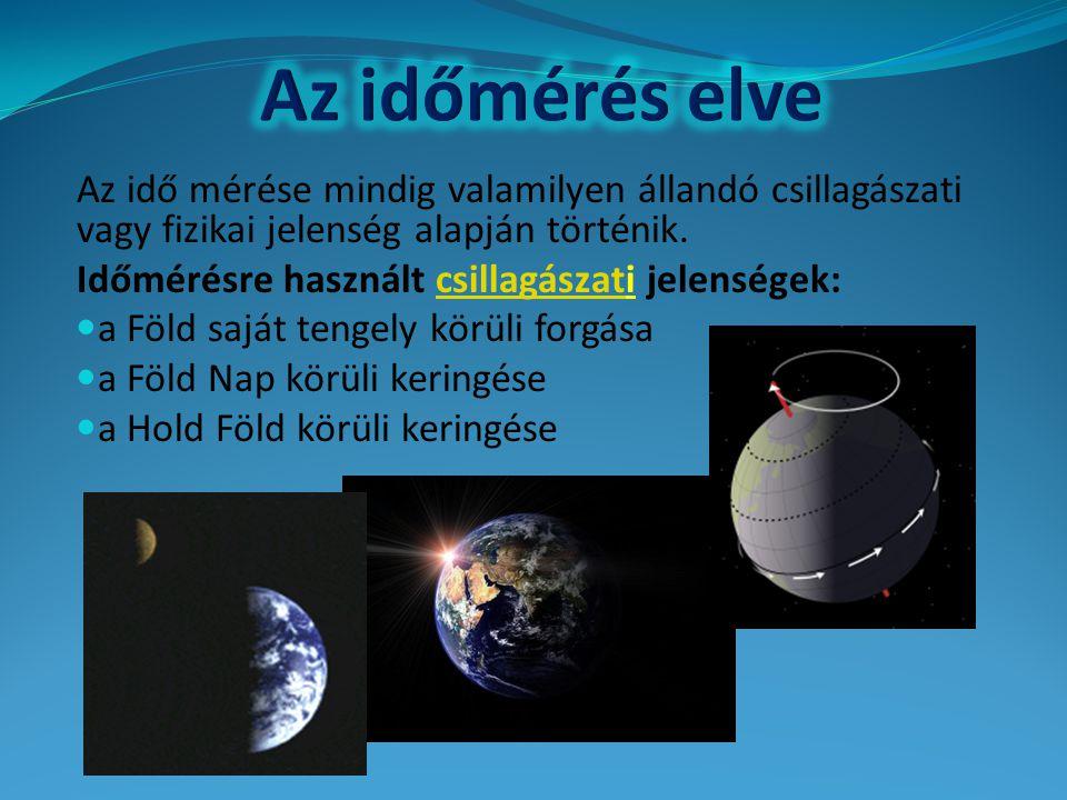 Az időmérés elve Időmérésre használt csillagászati jelenségek: