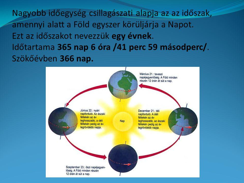 Nagyobb időegység csillagászati alapja az az időszak, amennyi alatt a Föld egyszer körüljárja a Napot.