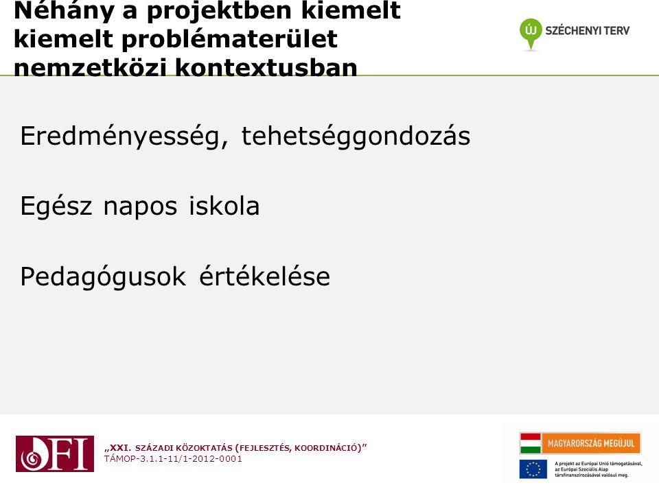 Néhány a projektben kiemelt kiemelt problématerület nemzetközi kontextusban