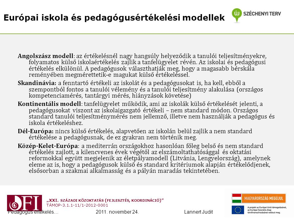 Európai iskola és pedagógusértékelési modellek