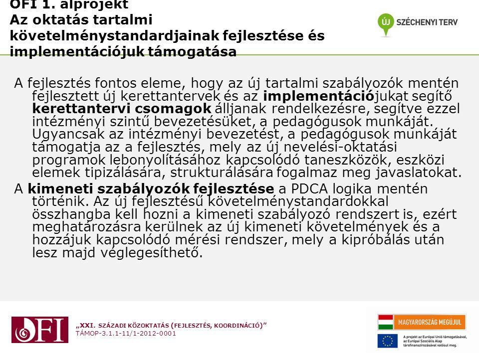 OFI 1. alprojekt Az oktatás tartalmi követelménystandardjainak fejlesztése és implementációjuk támogatása