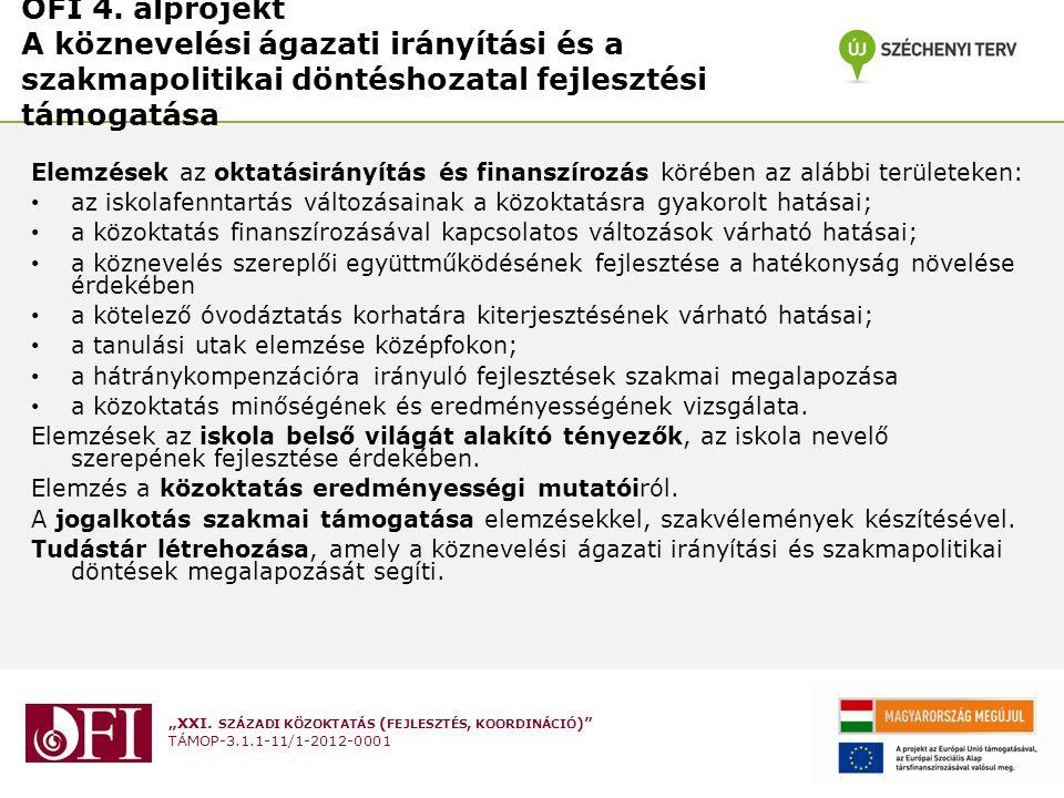 OFI 4. alprojekt A köznevelési ágazati irányítási és a szakmapolitikai döntéshozatal fejlesztési támogatása