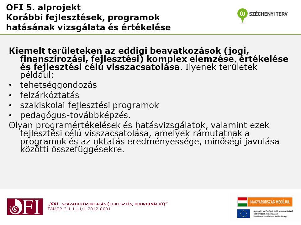 OFI 5. alprojekt Korábbi fejlesztések, programok hatásának vizsgálata és értékelése
