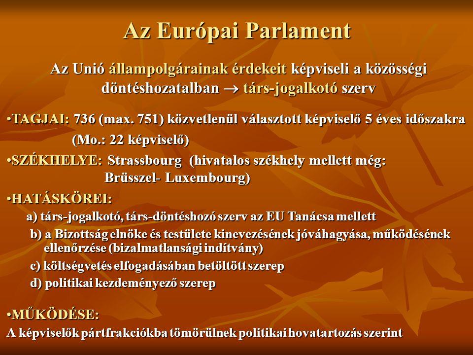 Az Európai Parlament Az Unió állampolgárainak érdekeit képviseli a közösségi döntéshozatalban  társ-jogalkotó szerv.