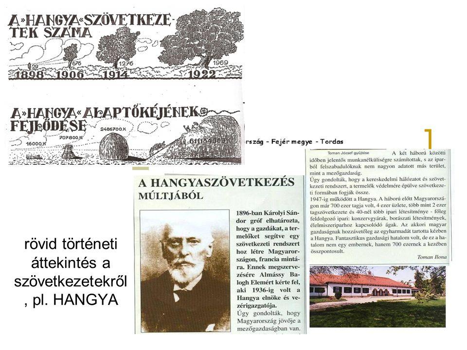 rövid történeti áttekintés a szövetkezetekről, pl. HANGYA