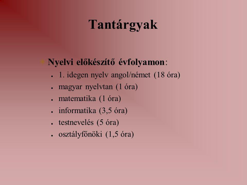 Tantárgyak Nyelvi előkészítő évfolyamon: