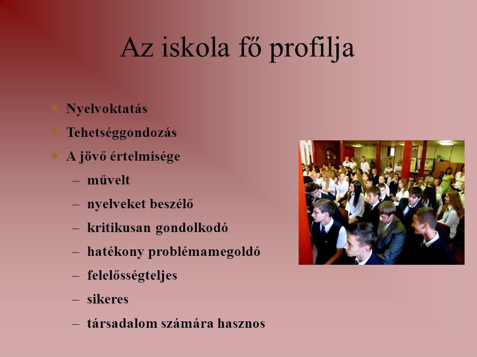 Az iskola fő profilja Nyelvoktatás Tehetséggondozás A jövő értelmisége