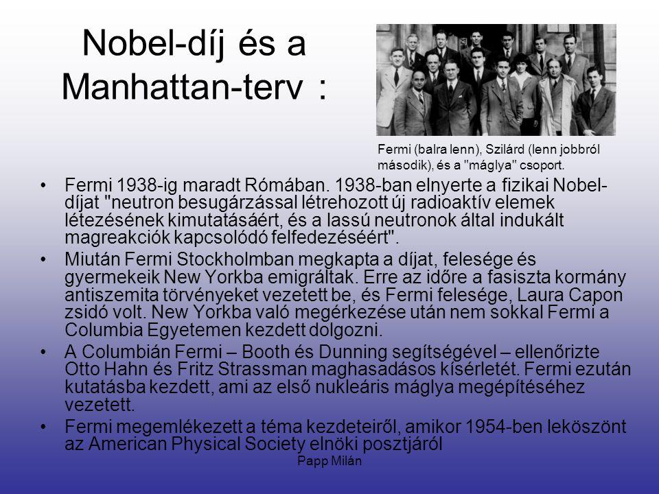Nobel-díj és a Manhattan-terv :
