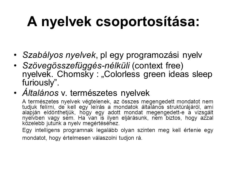 A nyelvek csoportosítása: