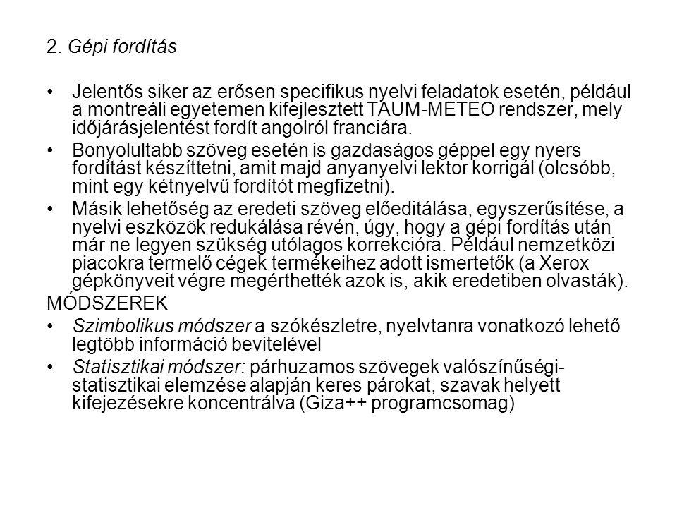 2. Gépi fordítás