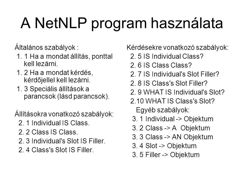 A NetNLP program használata