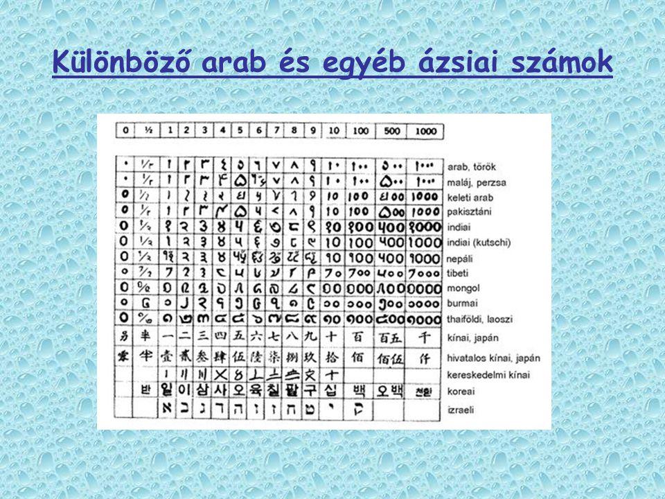 Különböző arab és egyéb ázsiai számok