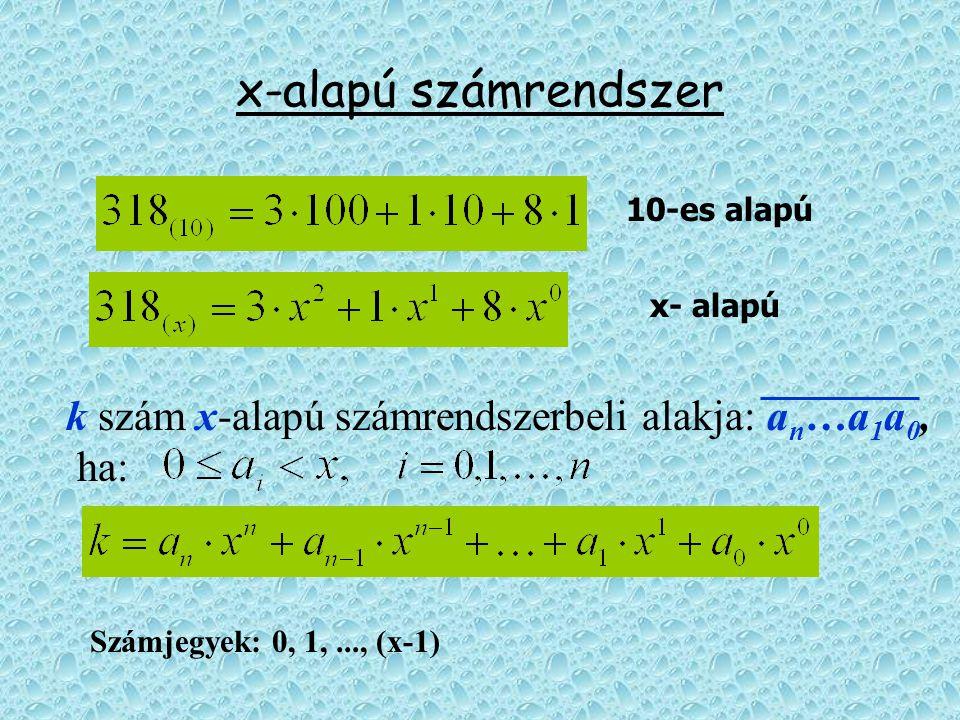 x-alapú számrendszer 10-es alapú. x- alapú. k szám x-alapú számrendszerbeli alakja: an…a1a0, ha: