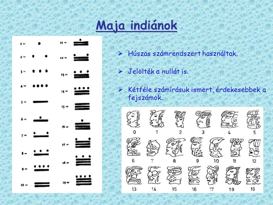 Maja indiánok Húszas számrendszert használtak. Jelölték a nullát is.