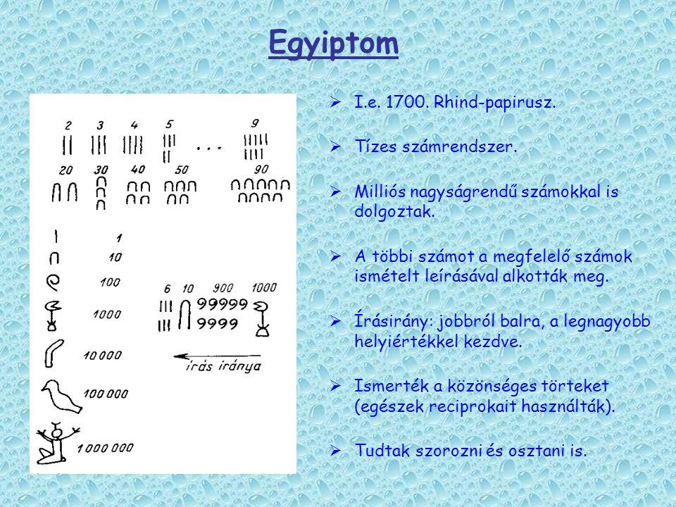Egyiptom I.e. 1700. Rhind-papirusz. Tízes számrendszer.