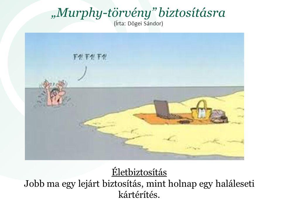 """""""Murphy-törvény biztosításra (Írta: Dögei Sándor)"""