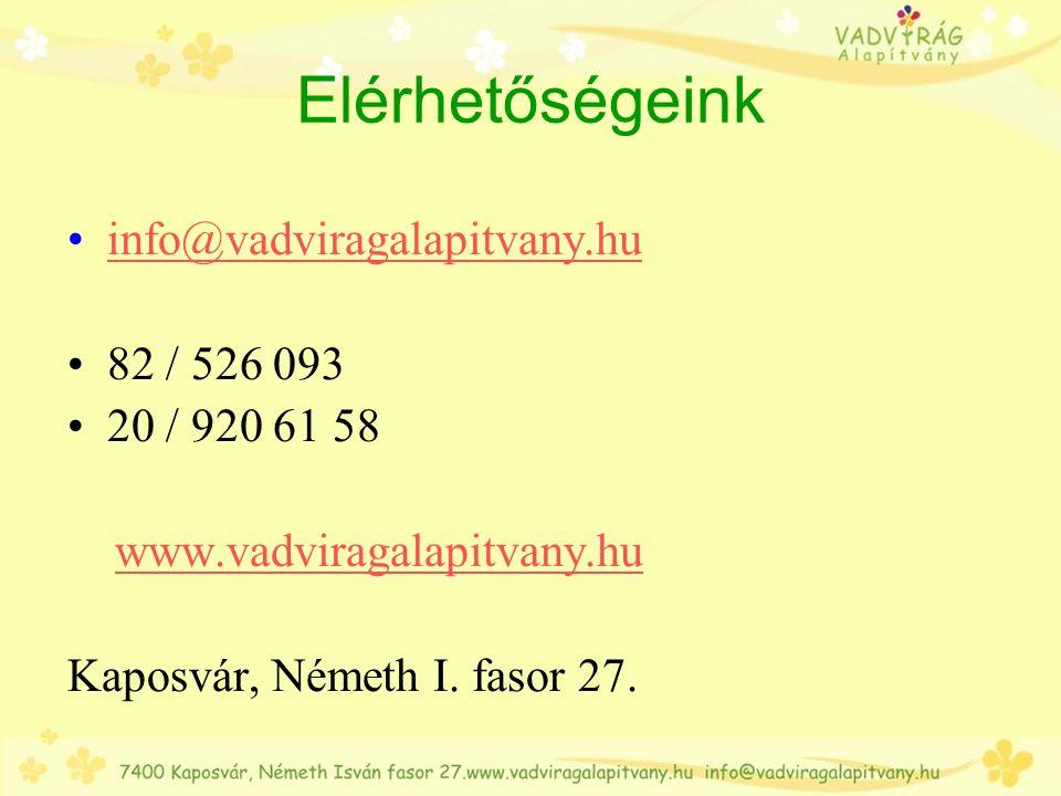 Elérhetőségeink info@vadviragalapitvany.hu 82 / 526 093 20 / 920 61 58