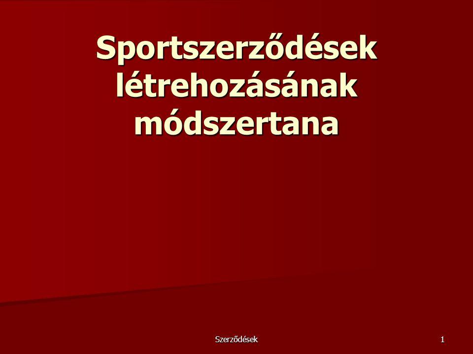 Sportszerződések létrehozásának módszertana