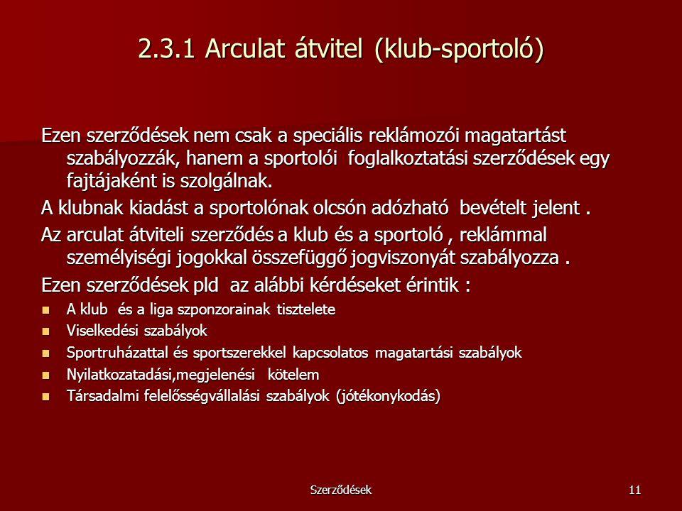 2.3.1 Arculat átvitel (klub-sportoló)