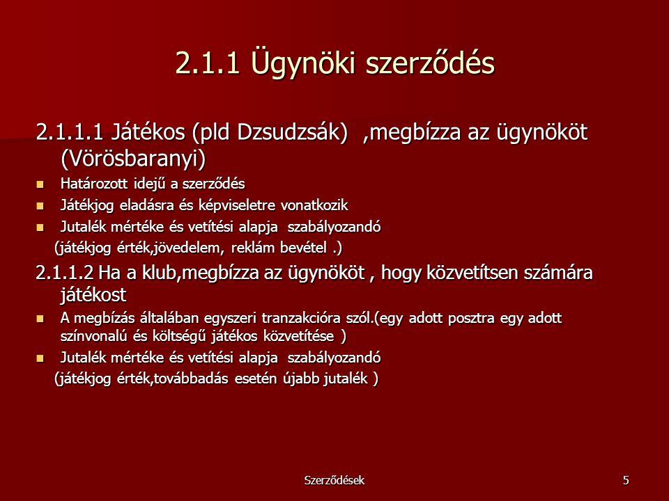 2.1.1 Ügynöki szerződés 2.1.1.1 Játékos (pld Dzsudzsák) ,megbízza az ügynököt (Vörösbaranyi) Határozott idejű a szerződés.