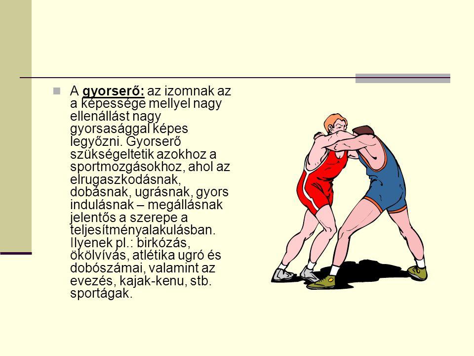 A gyorserő: az izomnak az a képessége mellyel nagy ellenállást nagy gyorsasággal képes legyőzni.