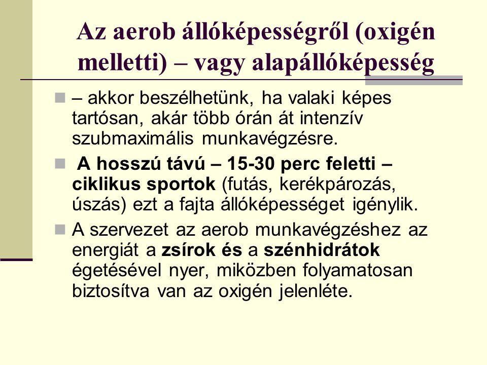 Az aerob állóképességről (oxigén melletti) – vagy alapállóképesség
