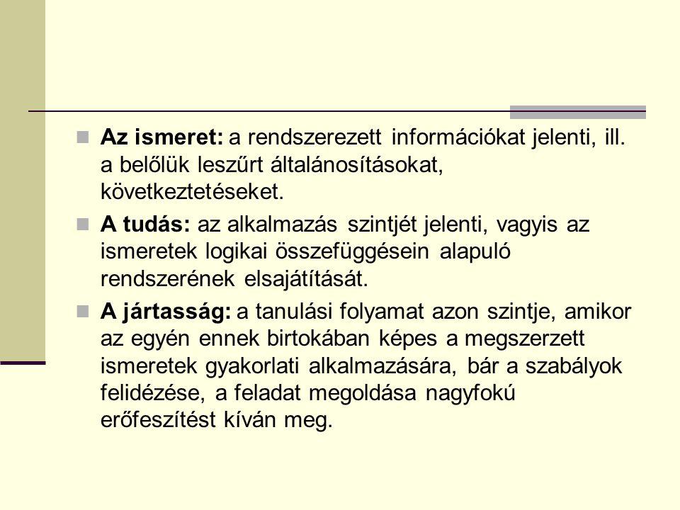 Az ismeret: a rendszerezett információkat jelenti, ill
