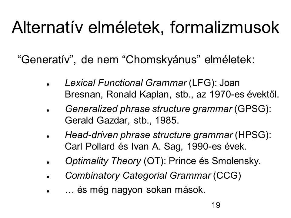 Alternatív elméletek, formalizmusok