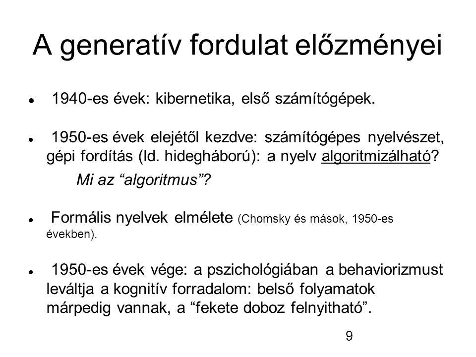 A generatív fordulat előzményei