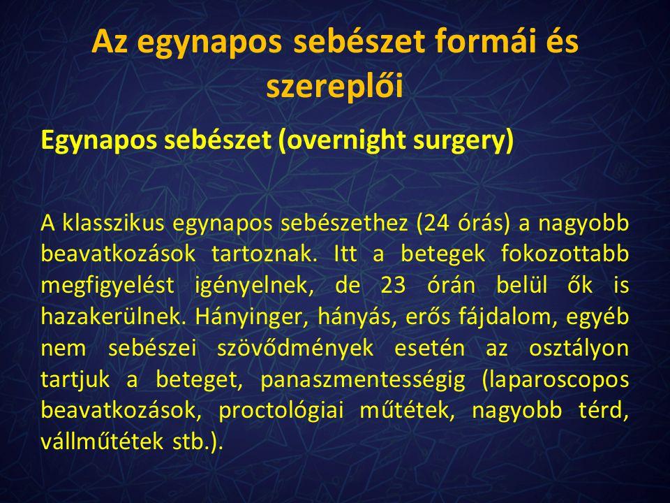 Az egynapos sebészet formái és szereplői