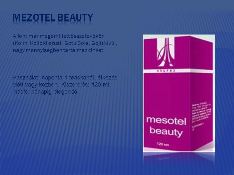 Mezotel beauty A fent már megemlített összetevőkön (Kolin, Kolloid ezüst, Gotu Cola, Goji) kívül, nagy mennyiségben tartalmaz cinket.