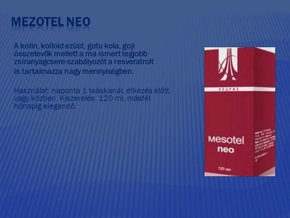 Mezotel neo A kolin, kolloid ezüst, gotu kola, goji összetevők mellett a ma ismert legjobb zsíranyagcsere-szabályozót a resveratrolt.