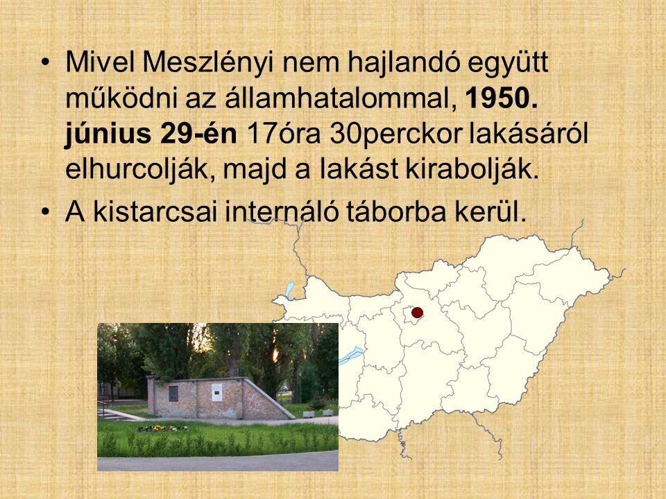 Mivel Meszlényi nem hajlandó együtt működni az államhatalommal, 1950