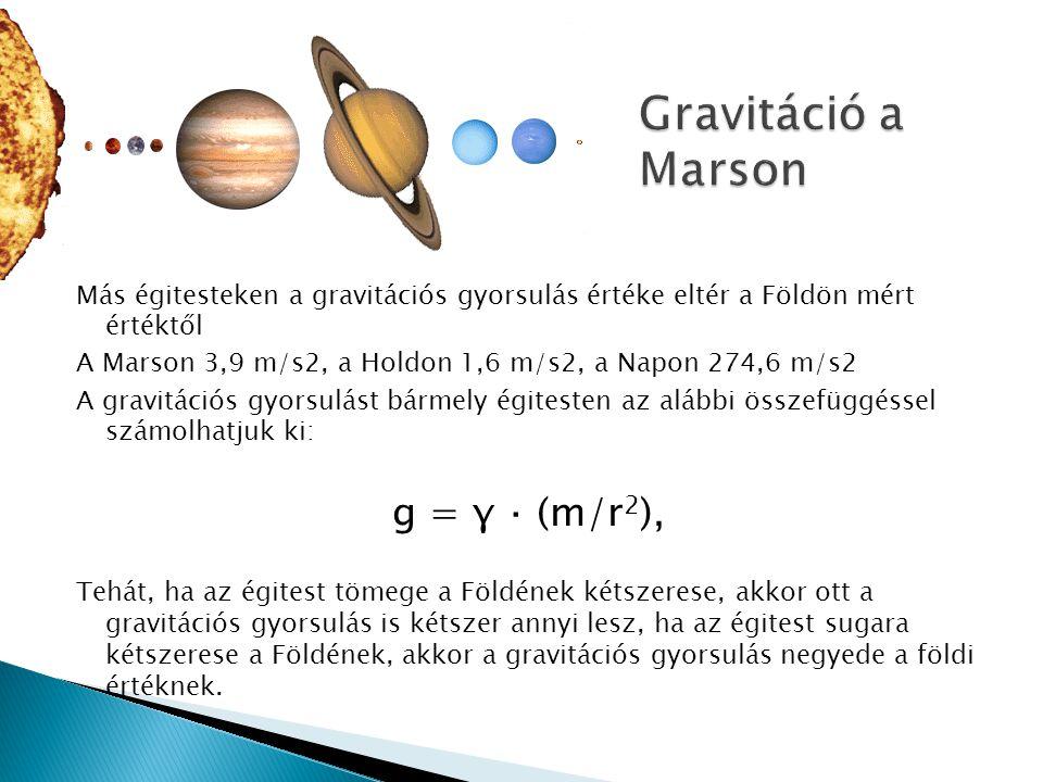 Gravitáció a Marson g = γ ⋅ (m/r2),
