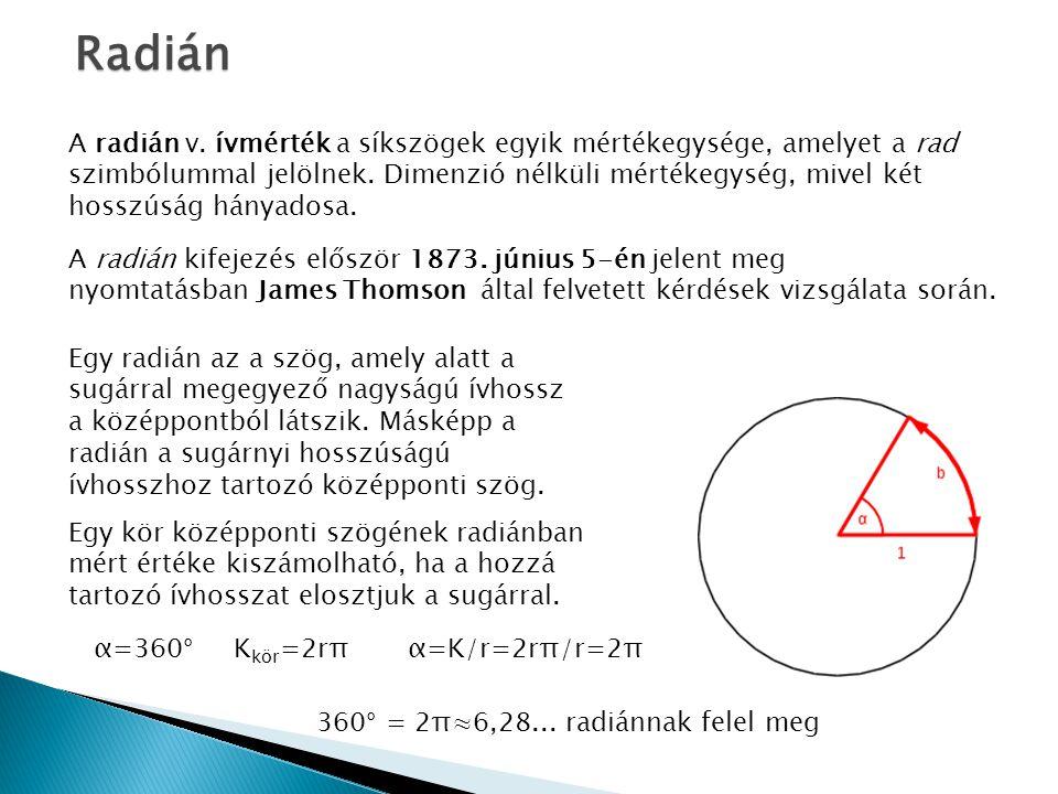 Radián A radián v. ívmérték a síkszögek egyik mértékegysége, amelyet a rad szimbólummal jelölnek. Dimenzió nélküli mértékegység, mivel két.