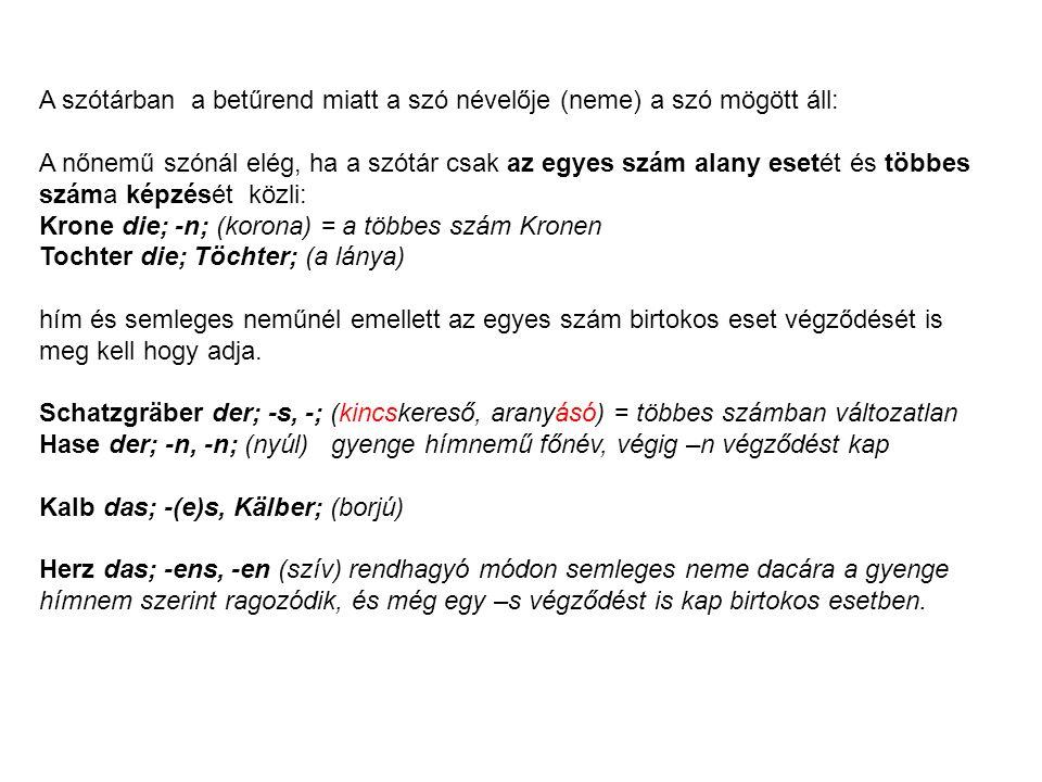A szótárban a betűrend miatt a szó névelője (neme) a szó mögött áll:
