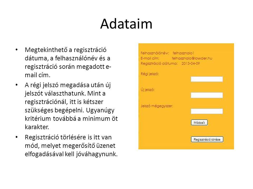 Adataim Megtekinthető a regisztráció dátuma, a felhasználónév és a regisztráció során megadott e-mail cím.
