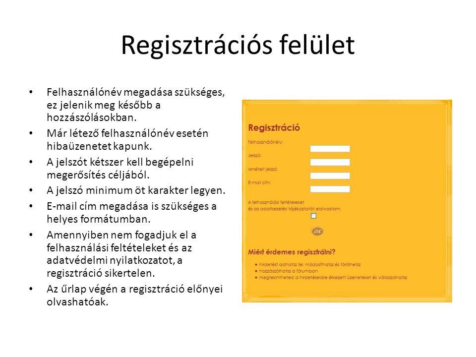 Regisztrációs felület