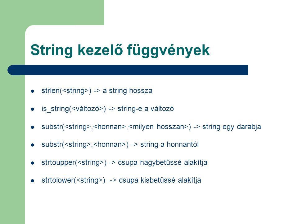 String kezelő függvények