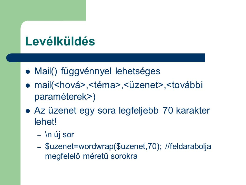 Levélküldés Mail() függvénnyel lehetséges
