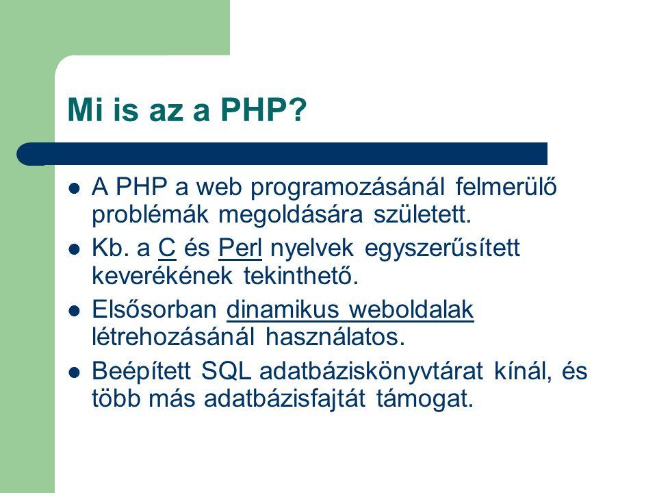 Mi is az a PHP A PHP a web programozásánál felmerülő problémák megoldására született.